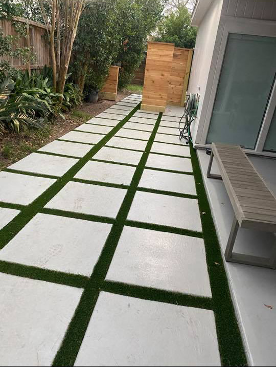 concrete steps and artificial turf