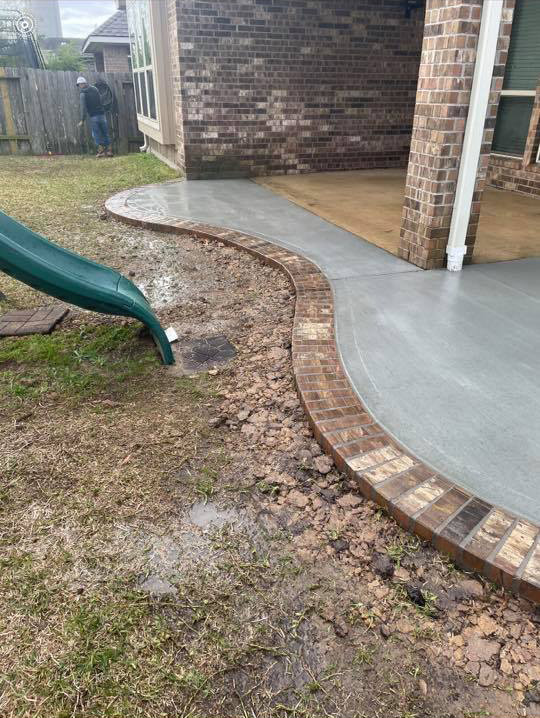 driveway extension and concrete/brick patio